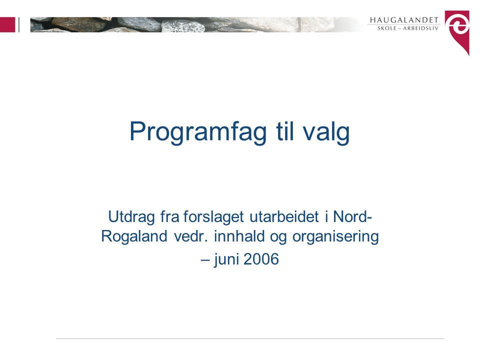 Programfag til valg Utdrag fra forslaget utarbeidet i Nord- Rogaland vedr. innhald og organisering – juni 2006