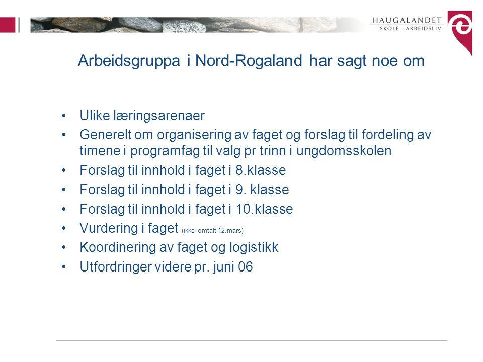 Arbeidsgruppa i Nord-Rogaland har sagt noe om Ulike læringsarenaer Generelt om organisering av faget og forslag til fordeling av timene i programfag t