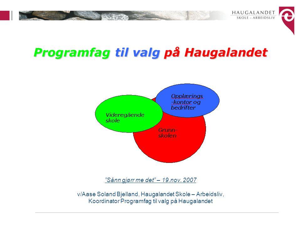 Agenda Bakgrunn for faget Om prosjektet Programfag til valg på Haugalandet og Haugalandsmodellen Koordinering av faget –Nytt web-systemet for logistikk Programfag til valg i ungdomsskolen –Om rammer og innhold i faget Programfag til valg i den videregående skole Programfag til valg i bedrift Suksessfaktorer PTV PTV- Hele skolens oppgave
