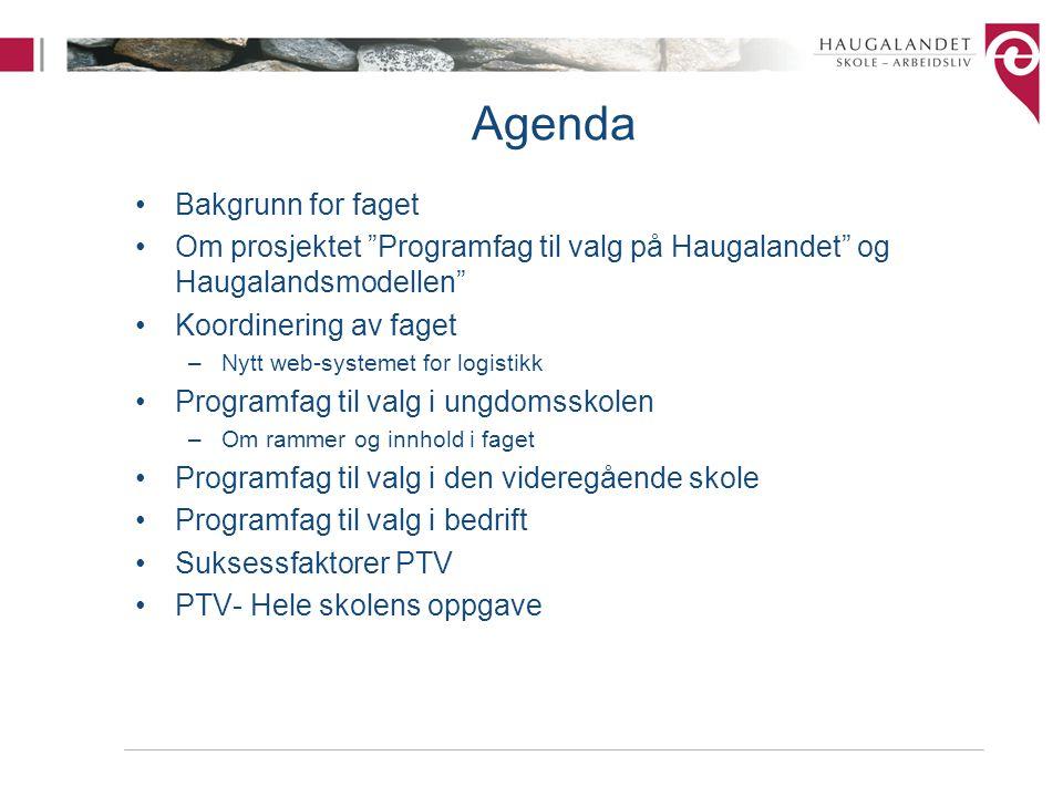 """Agenda Bakgrunn for faget Om prosjektet """"Programfag til valg på Haugalandet"""" og Haugalandsmodellen"""" Koordinering av faget –Nytt web-systemet for logis"""