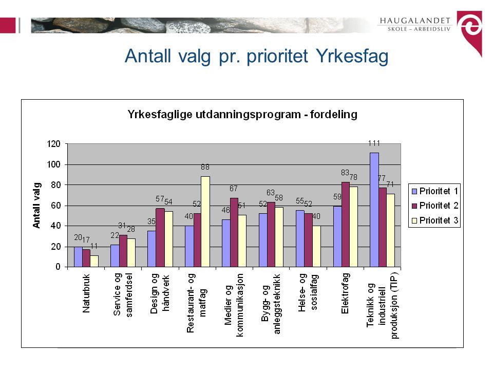 Antall valg pr. prioritet Yrkesfag