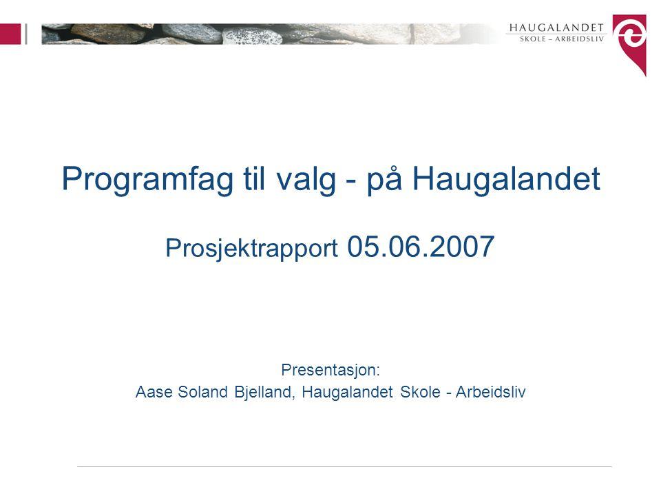 Programfag til valg - på Haugalandet Prosjektrapport 05.06.2007 Presentasjon: Aase Soland Bjelland, Haugalandet Skole - Arbeidsliv