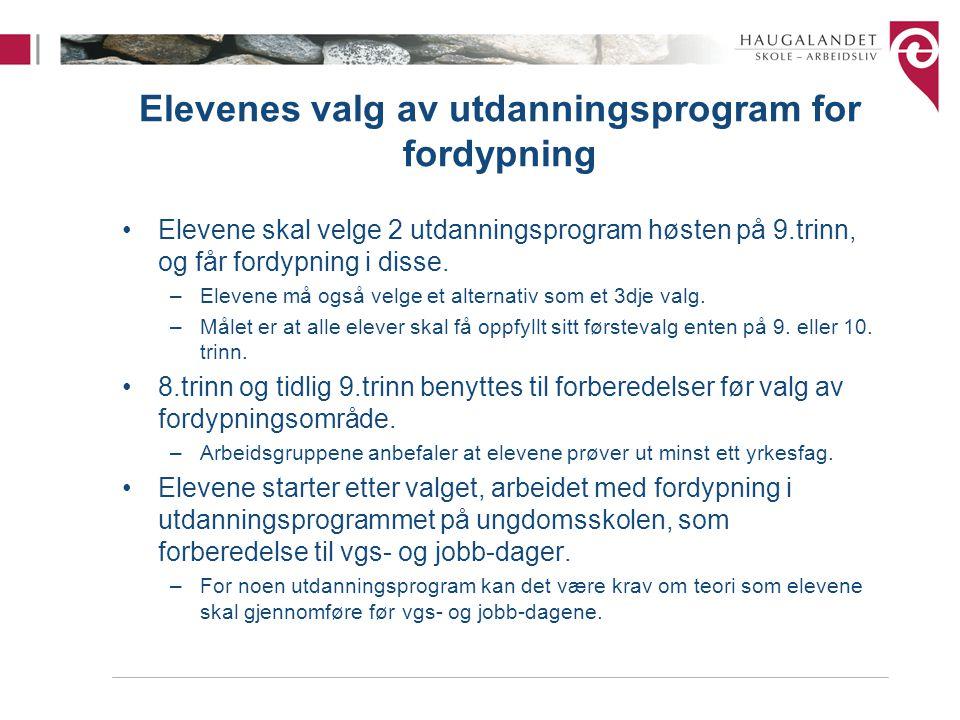 Elevenes valg av utdanningsprogram for fordypning Elevene skal velge 2 utdanningsprogram høsten på 9.trinn, og får fordypning i disse.