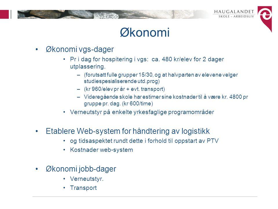 Økonomi Økonomi vgs-dager Pr i dag for hospitering i vgs: ca.