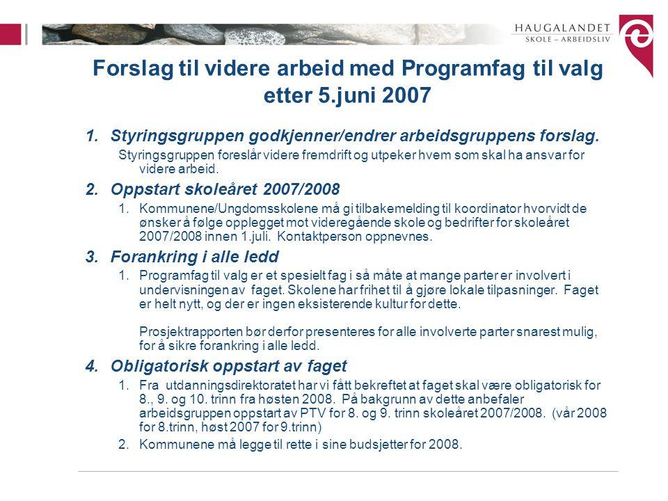 Forslag til videre arbeid med Programfag til valg etter 5.juni 2007 1.Styringsgruppen godkjenner/endrer arbeidsgruppens forslag.