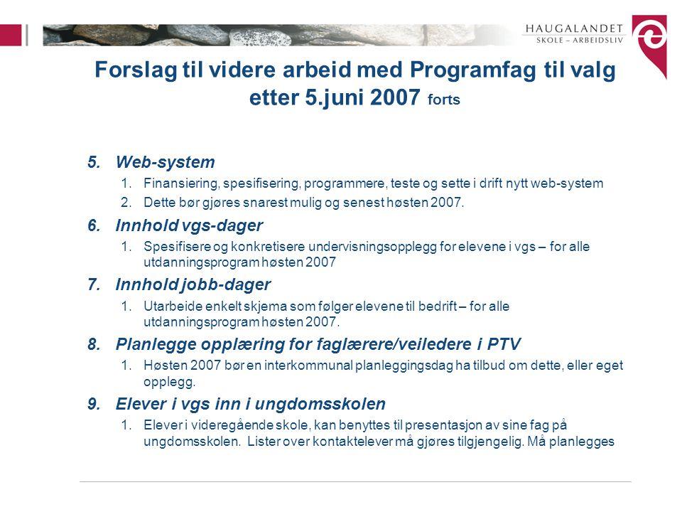 Forslag til videre arbeid med Programfag til valg etter 5.juni 2007 forts 5.Web-system 1.Finansiering, spesifisering, programmere, teste og sette i drift nytt web-system 2.Dette bør gjøres snarest mulig og senest høsten 2007.