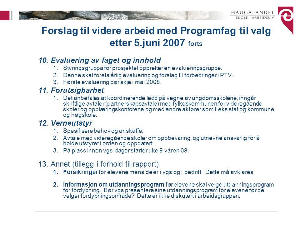 Forslag til videre arbeid med Programfag til valg etter 5.juni 2007 forts 10.Evaluering av faget og innhold 1.Styringsgruppa for prosjektet oppretter en evalueringsgruppe.