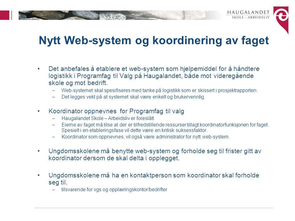 Nytt Web-system og koordinering av faget Det anbefales å etablere et web-system som hjelpemiddel for å håndtere logistikk i Programfag til Valg på Haugalandet, både mot videregående skole og mot bedrift.