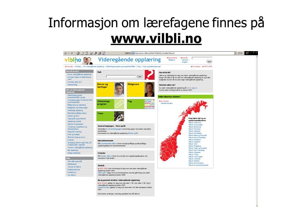 Informasjon om lærefagene finnes på www.vilbli.no