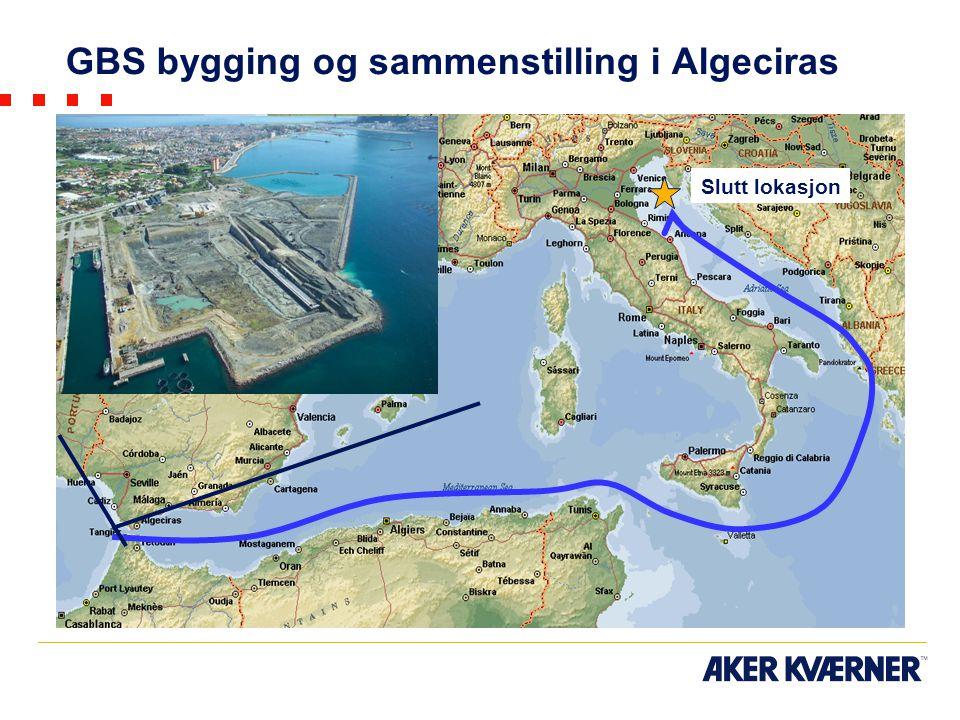 GBS bygging og sammenstilling i Algeciras Slutt lokasjon