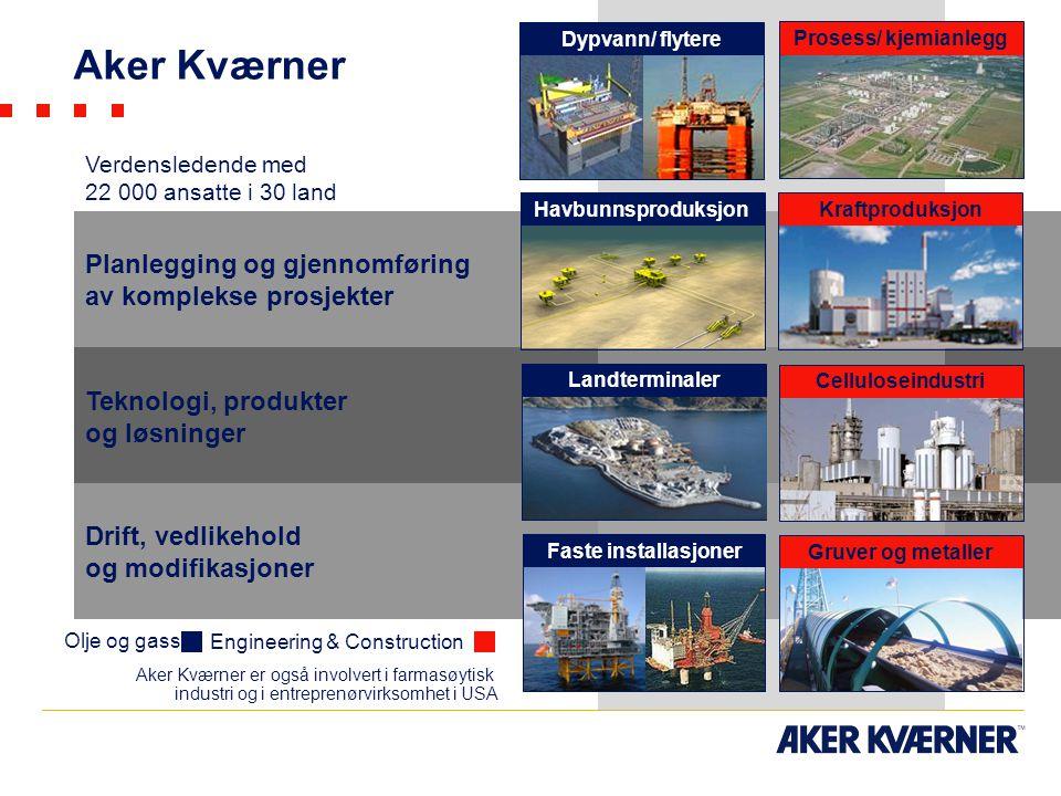 Planlegging og gjennomføring av komplekse prosjekter Teknologi, produkter og løsninger Drift, vedlikehold og modifikasjoner Engineering & Construction