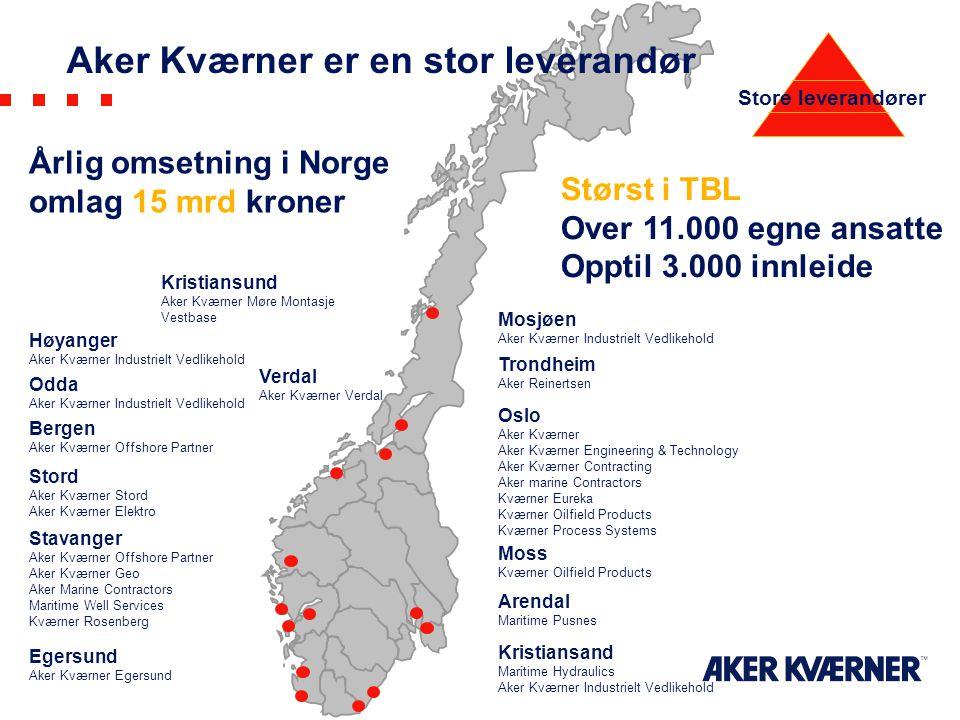 Aker Kværner er en stor leverandør Mosjøen Aker Kværner Industrielt Vedlikehold Odda Aker Kværner Industrielt Vedlikehold Høyanger Aker Kværner Indust