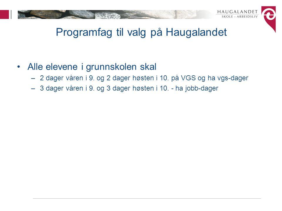 Programfag til valg på Haugalandet Alle elevene i grunnskolen skal –2 dager våren i 9. og 2 dager høsten i 10. på VGS og ha vgs-dager –3 dager våren i
