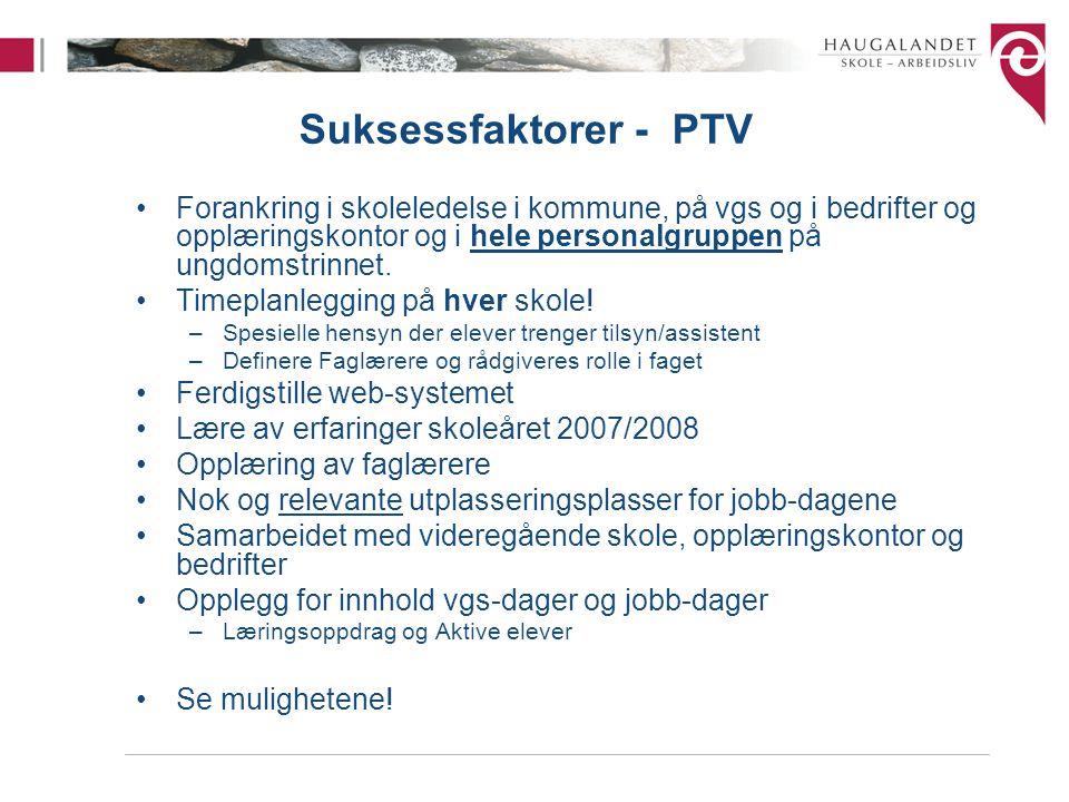 Suksessfaktorer - PTV Forankring i skoleledelse i kommune, på vgs og i bedrifter og opplæringskontor og i hele personalgruppen på ungdomstrinnet. Time