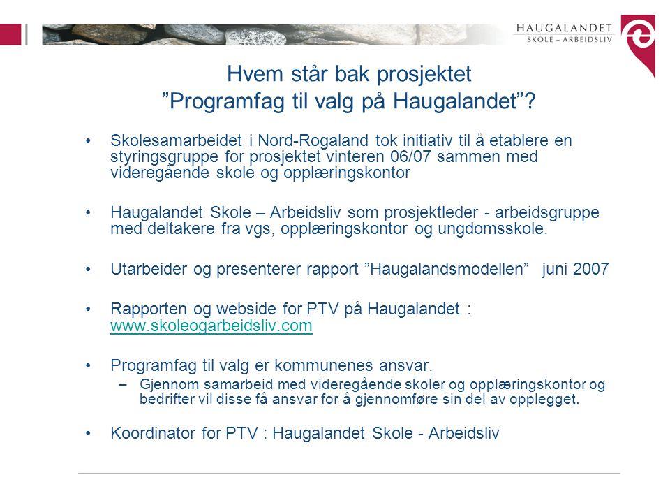 """Hvem står bak prosjektet """"Programfag til valg på Haugalandet""""? Skolesamarbeidet i Nord-Rogaland tok initiativ til å etablere en styringsgruppe for pro"""