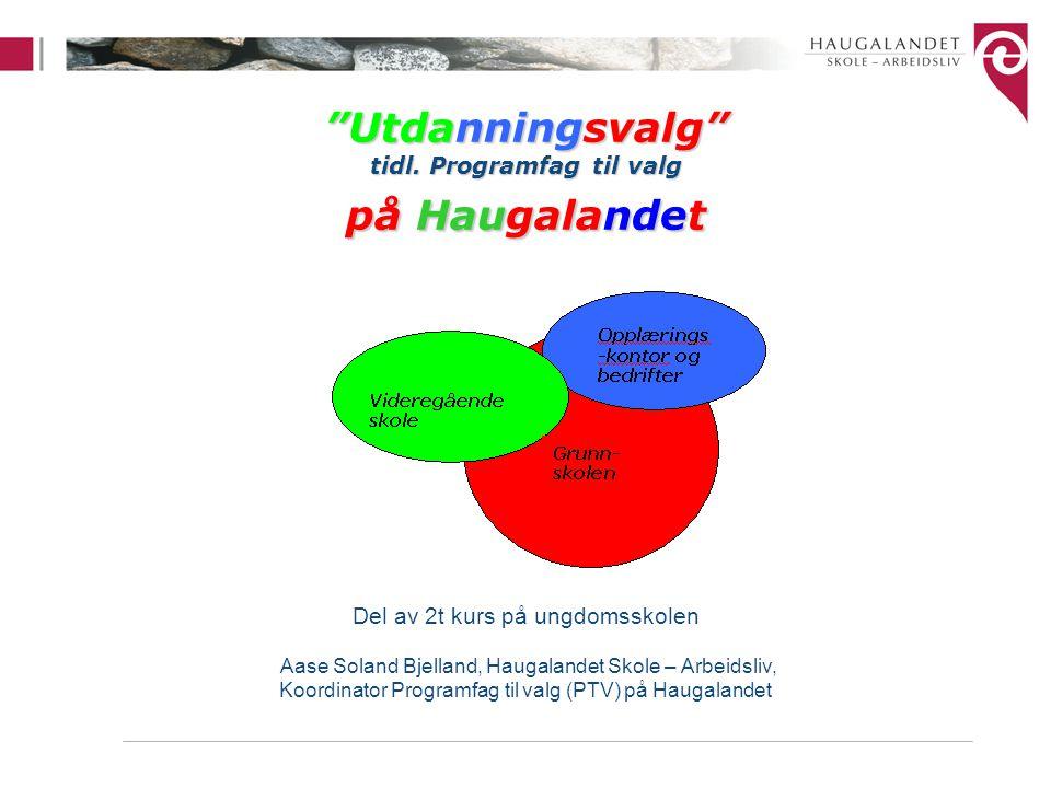 """Utdanningsvalg"" tidl. Programfag til valg på Haugalandet Del av 2t kurs på ungdomsskolen Aase Soland Bjelland, Haugalandet Skole – Arbeidsliv, Koordi"