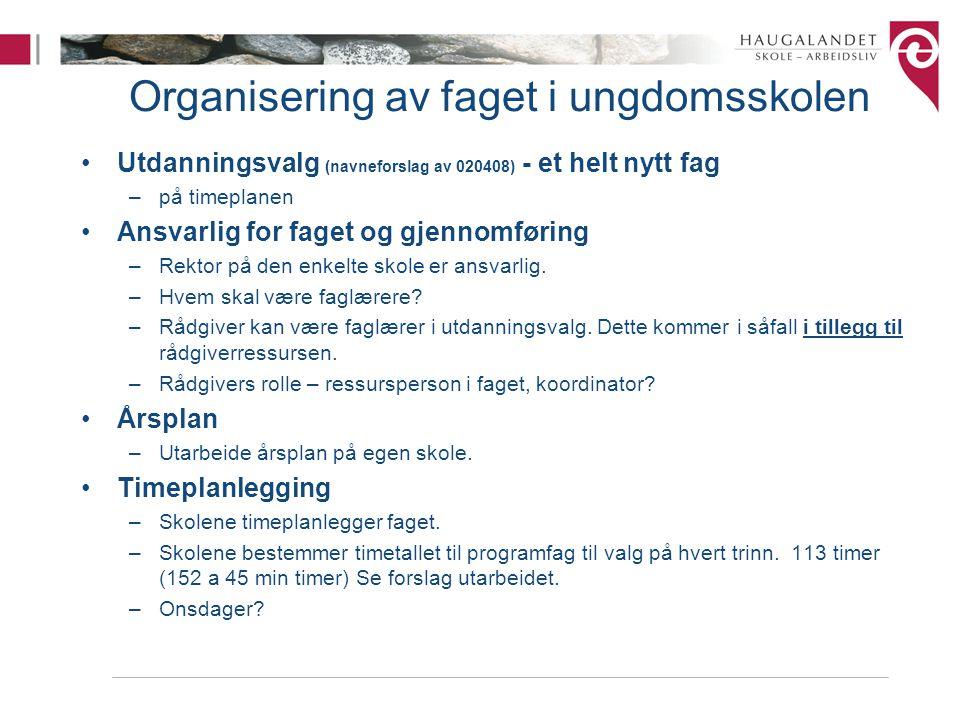 Organisering av faget i ungdomsskolen Utdanningsvalg (navneforslag av 020408) - et helt nytt fag –på timeplanen Ansvarlig for faget og gjennomføring –