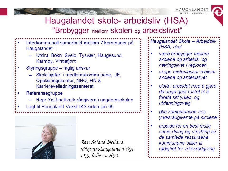 "Haugalandet skole- arbeidsliv (HSA) ""Brobygger mellom skolen og arbeidslivet"" Interkommunalt samarbeid mellom 7 kommuner på Haugalandet : –Utsira, Bok"