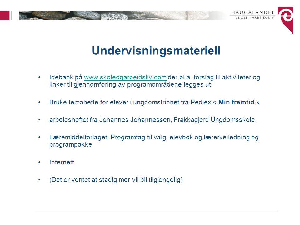 Undervisningsmateriell Idebank på www.skoleogarbeidsliv.com der bl.a. forslag til aktiviteter og linker til gjennomføring av programområdene legges ut