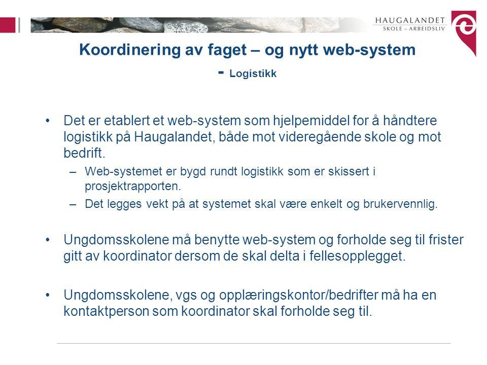 Koordinering av faget – og nytt web-system - Logistikk Det er etablert et web-system som hjelpemiddel for å håndtere logistikk på Haugalandet, både mo
