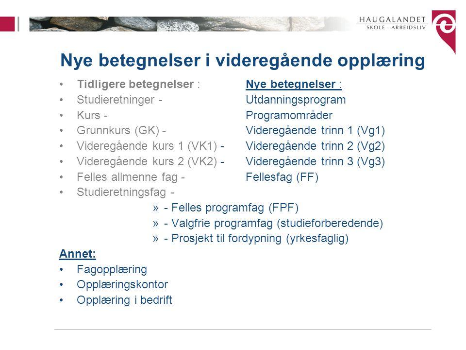 Nye betegnelser i videregående opplæring Tidligere betegnelser :Nye betegnelser : Studieretninger -Utdanningsprogram Kurs -Programområder Grunnkurs (G