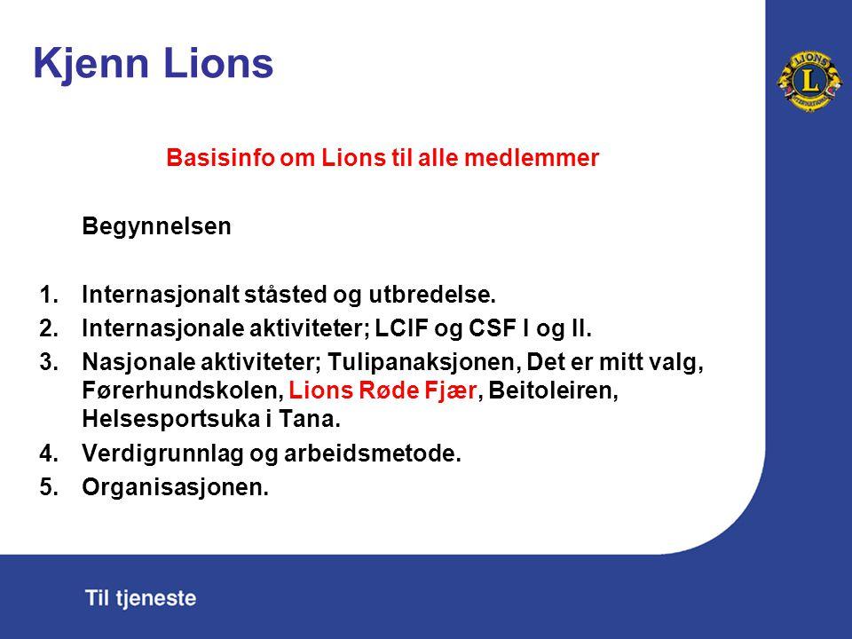 Kjenn Lions Basisinfo om Lions til alle medlemmer Begynnelsen 1.Internasjonalt ståsted og utbredelse. 2.Internasjonale aktiviteter; LCIF og CSF I og I