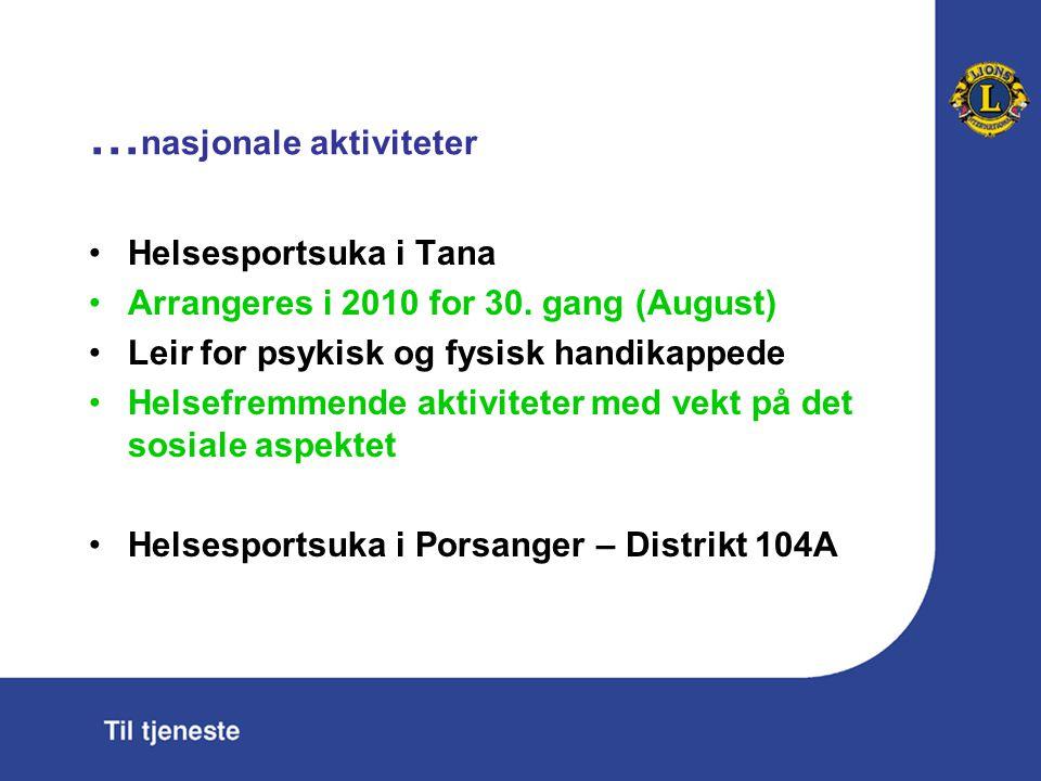 … nasjonale aktiviteter Helsesportsuka i Tana Arrangeres i 2010 for 30. gang (August) Leir for psykisk og fysisk handikappede Helsefremmende aktivitet