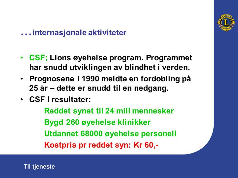 … internasjonale aktiviteter CSF; Lions øyehelse program. Programmet har snudd utviklingen av blindhet i verden. Prognosene i 1990 meldte en fordoblin