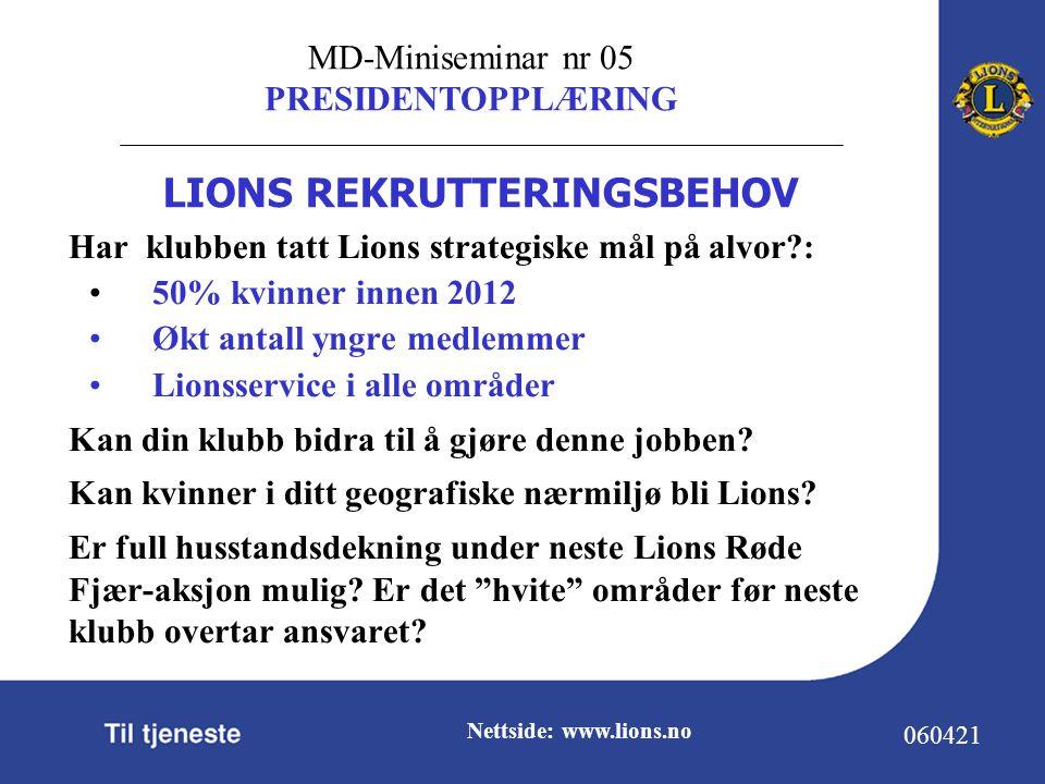 MD-Miniseminar nr 05 PRESIDENTOPPLÆRING 060421 Nettside: www.lions.no Har klubben tatt Lions strategiske mål på alvor : 50% kvinner innen 2012 Økt antall yngre medlemmer Lionsservice i alle områder Kan din klubb bidra til å gjøre denne jobben.