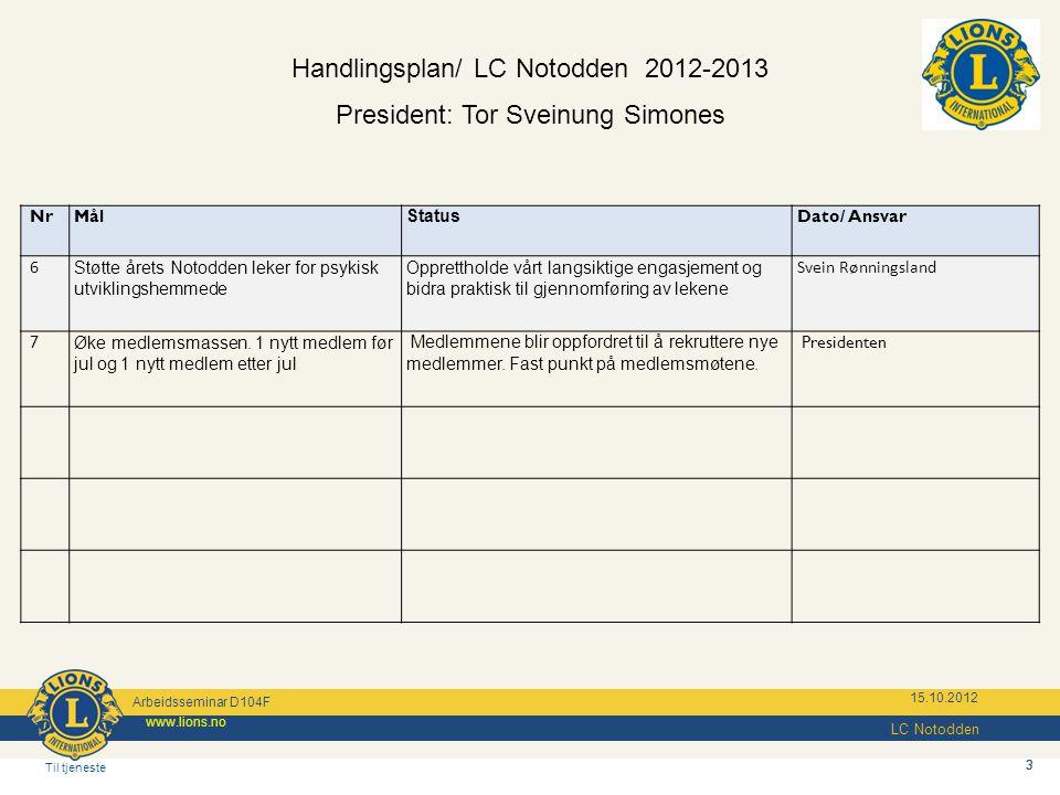 3 Til tjeneste www.lions.no 15.10.2012 3 Handlingsplan/ LC Notodden 2012-2013 President: Tor Sveinung Simones NrMål Status Dato/ Ansvar 6 Støtte årets