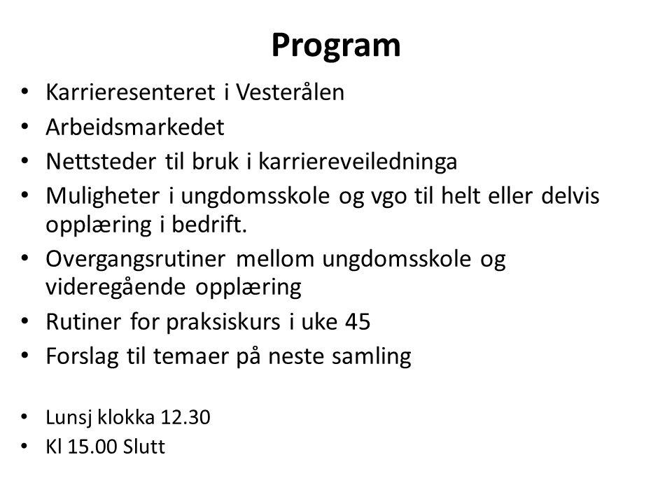 Program Karrieresenteret i Vesterålen Arbeidsmarkedet Nettsteder til bruk i karriereveiledninga Muligheter i ungdomsskole og vgo til helt eller delvis opplæring i bedrift.