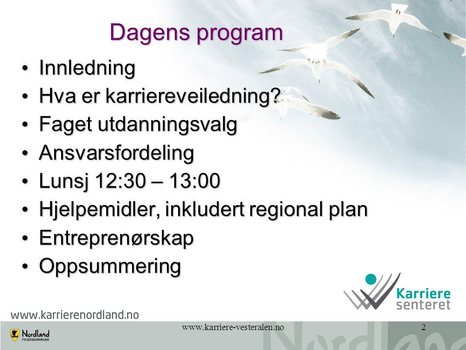www.karriere-vesteralen.no23 Årshjul/årsplan for Utdanningsvalg Eksempel tatt fra Elevperm fra Ballangen barne- og ungdomsskole