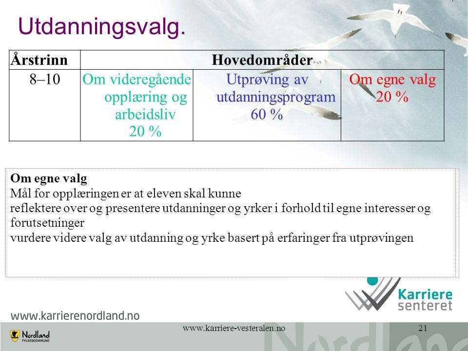 www.karriere-vesteralen.no21 Utdanningsvalg.