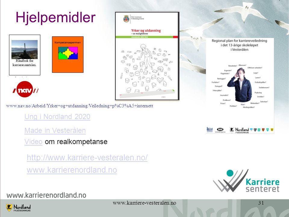 www.karriere-vesteralen.no31 Hjelpemidler http://www.karriere-vesteralen.no/ www.karrierenordland.no VideoVideo om realkompetanse Ung i Nordland 2020 Made in Vesterålen www.nav.no/Arbeid/Yrker+og+utdanning/Veiledning+p%C3%A5+internett