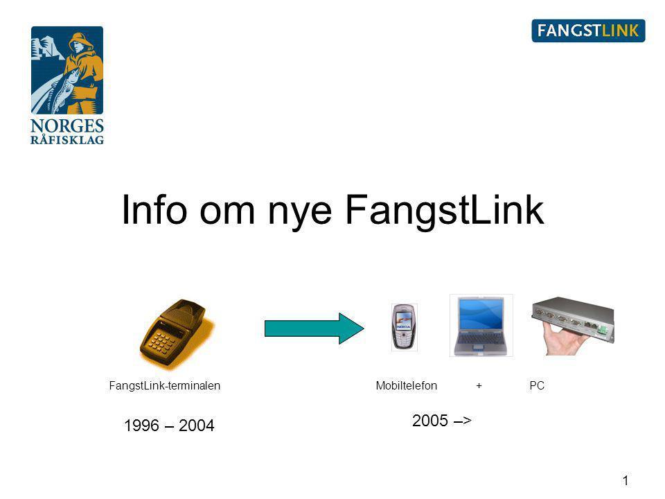 1 Info om nye FangstLink 1996 – 2004 2005 –> FangstLink-terminalenMobiltelefon + PC