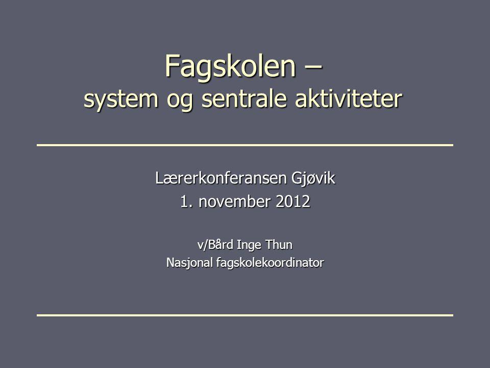 Fagskolen – system og sentrale aktiviteter Lærerkonferansen Gjøvik 1.