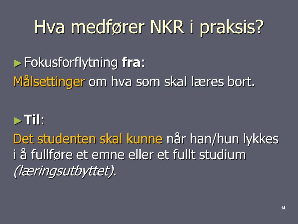 Hva medfører NKR i praksis.► Fokusforflytning fra: Målsettinger om hva som skal læres bort.