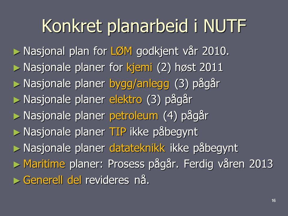 Konkret planarbeid i NUTF ► Nasjonal plan for LØM godkjent vår 2010.