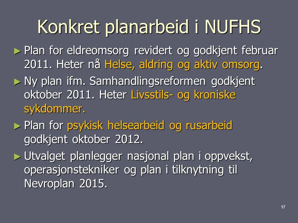 Konkret planarbeid i NUFHS ► Plan for eldreomsorg revidert og godkjent februar 2011.