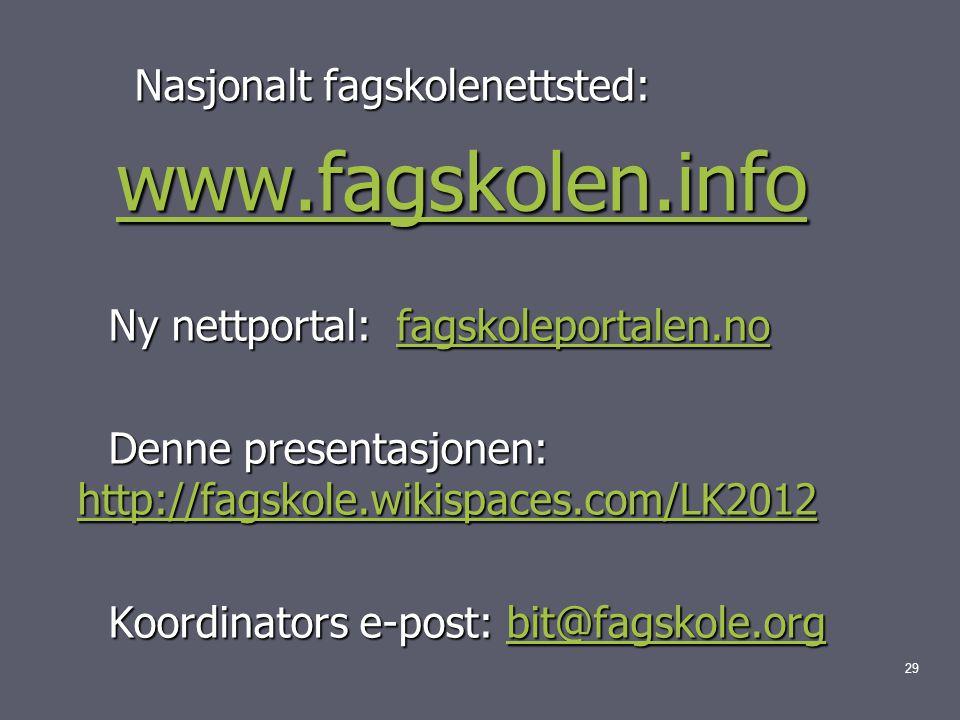 Nasjonalt fagskolenettsted: Nasjonalt fagskolenettsted: www.fagskolen.info www.fagskolen.infowww.fagskolen.info Ny nettportal: fagskoleportalen.no Ny nettportal: fagskoleportalen.nofagskoleportalen.no Denne presentasjonen: http://fagskole.wikispaces.com/LK2012 Denne presentasjonen: http://fagskole.wikispaces.com/LK2012 http://fagskole.wikispaces.com/LK2012 Koordinators e-post: bit@fagskole.org Koordinators e-post: bit@fagskole.orgbit@fagskole.org 29