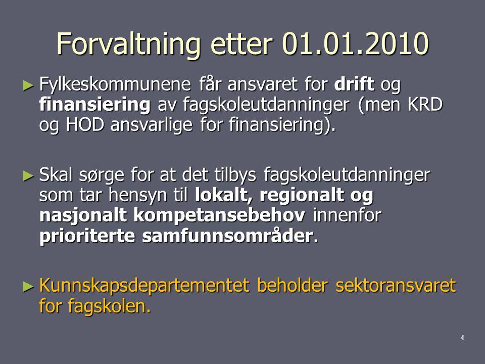 Forvaltning etter 01.01.2010 ► Fylkeskommunene får ansvaret for drift og finansiering av fagskoleutdanninger (men KRD og HOD ansvarlige for finansiering).