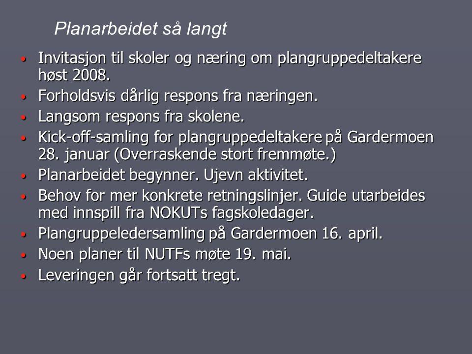Invitasjon til skoler og næring om plangruppedeltakere høst 2008. Invitasjon til skoler og næring om plangruppedeltakere høst 2008. Forholdsvis dårlig