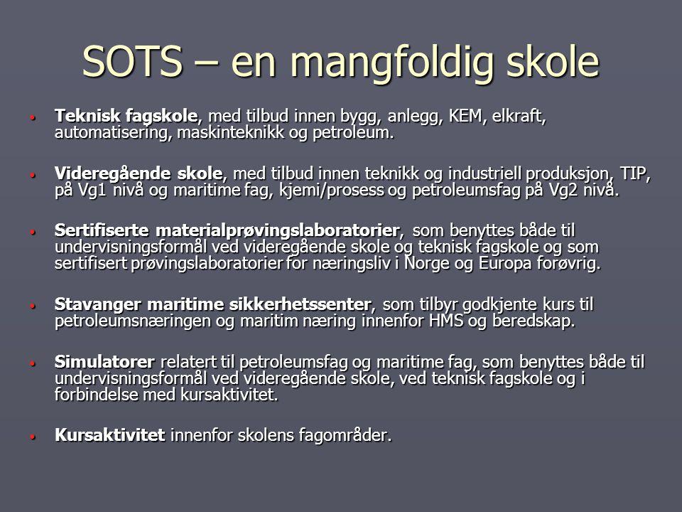 SOTS – en mangfoldig skole Teknisk fagskole, med tilbud innen bygg, anlegg, KEM, elkraft, automatisering, maskinteknikk og petroleum. Teknisk fagskole