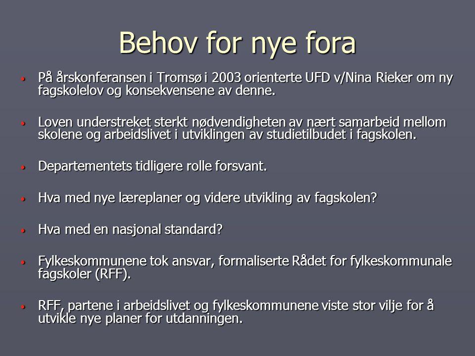 Behov for nye fora På årskonferansen i Tromsø i 2003 orienterte UFD v/Nina Rieker om ny fagskolelov og konsekvensene av denne. På årskonferansen i Tro