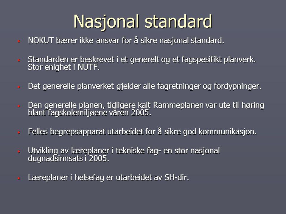 Nasjonal standard NOKUT bærer ikke ansvar for å sikre nasjonal standard. NOKUT bærer ikke ansvar for å sikre nasjonal standard. Standarden er beskreve