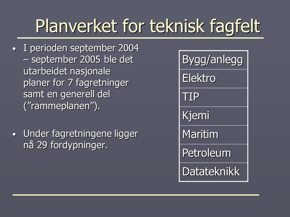 Planverket for teknisk fagfelt Planverket for teknisk fagfelt I perioden september 2004 – september 2005 ble det utarbeidet nasjonale planer for 7 fag