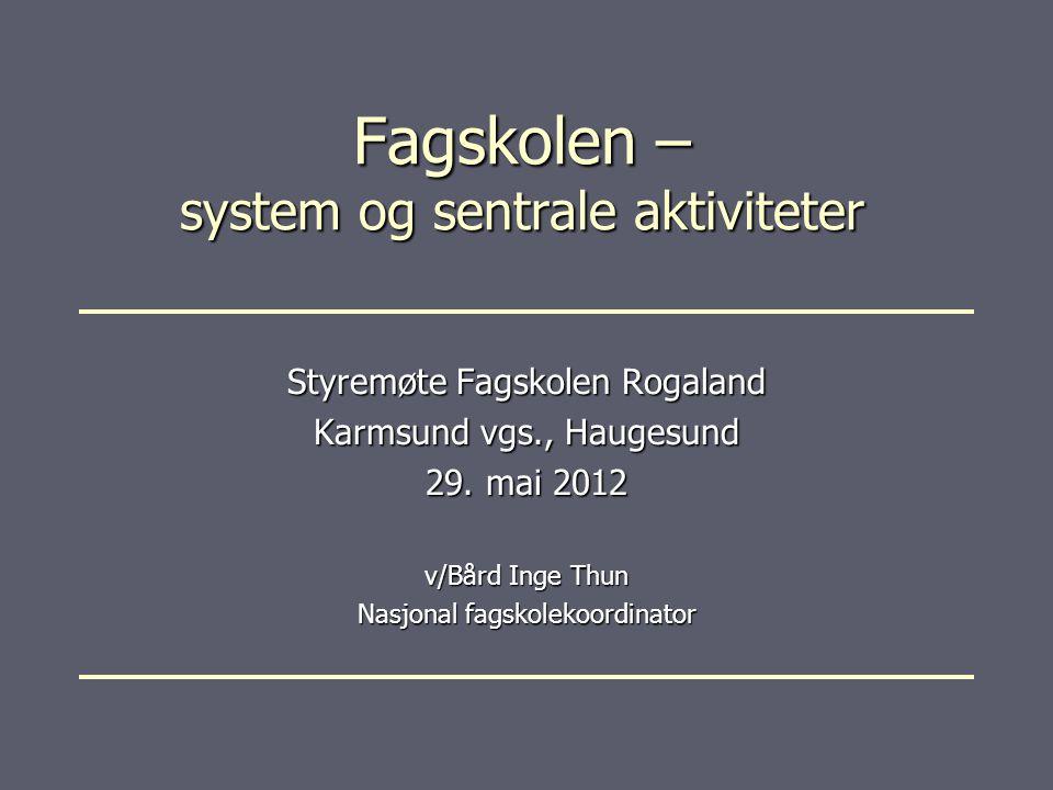 Fagskolen – system og sentrale aktiviteter Styremøte Fagskolen Rogaland Karmsund vgs., Haugesund 29.