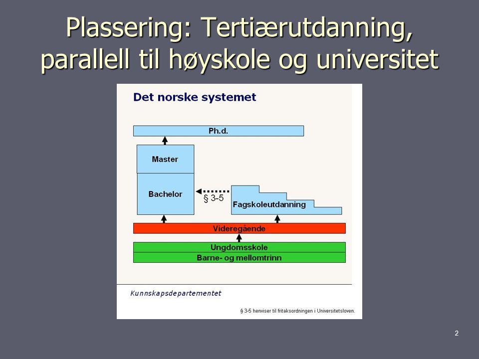 Plassering: Tertiærutdanning, parallell til høyskole og universitet 2