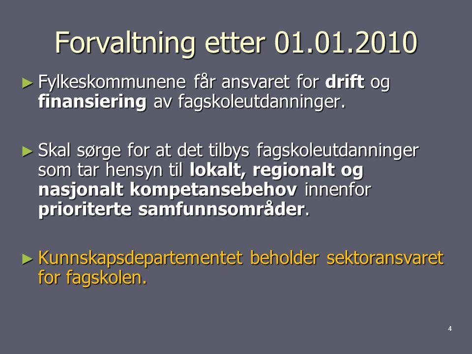 Forvaltning etter 01.01.2010 ► Fylkeskommunene får ansvaret for drift og finansiering av fagskoleutdanninger.