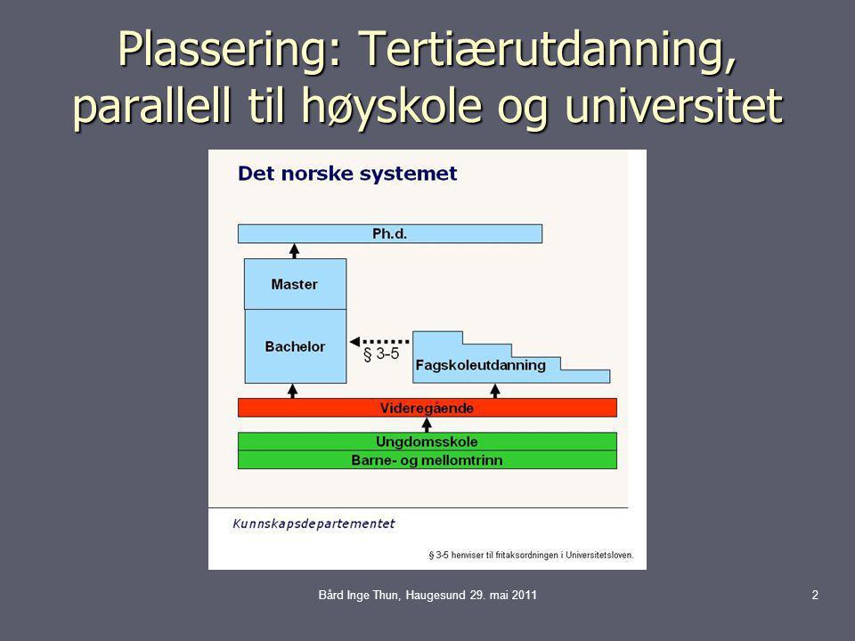 Plassering: Tertiærutdanning, parallell til høyskole og universitet Bård Inge Thun, Haugesund 29.
